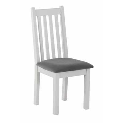 Rosa Light Grey Painted Vertical Slats Dining Chair Black Fabric Seat