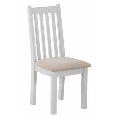 Rosa Vertical Slats Dining Chair With Plush Platinum Fabric Seat