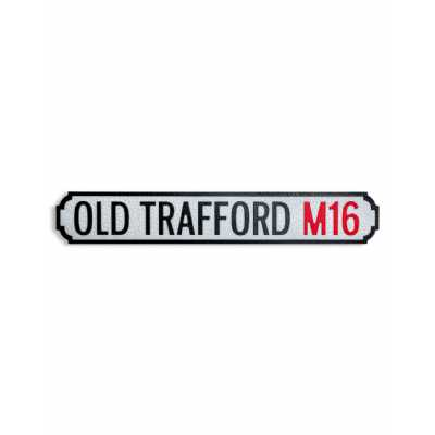 Vintage Style Antiqued Wooden 'Old Trafford M16' Wall Art Road Sign 13.5 x 78cm