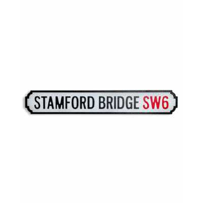 Vintage Style Antiqued Wooden 'Stamford Bridge SW6' Wall Art Road Sign 13.5 x 80cm