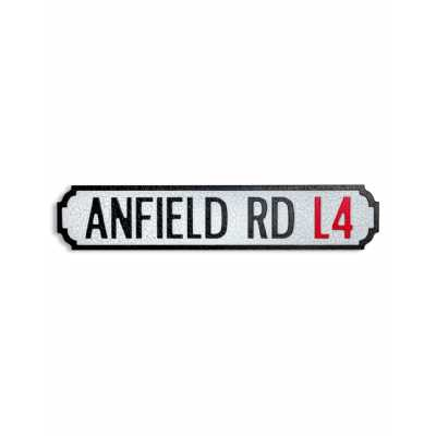 Vintage Style Antiqued Wooden 'Anfield Road L4' Wall Art Road Sign 13.5 x 62cm