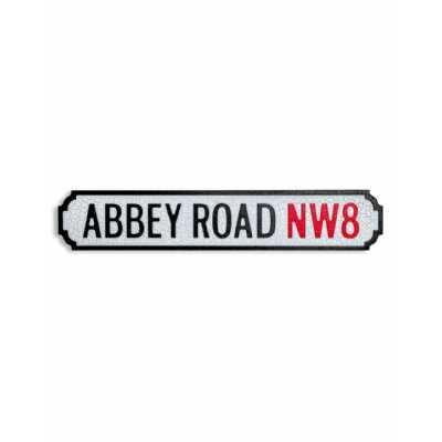 Antique and Quirky Rectangular Natural Wood ' Abbey Road Nw8' Road Sign 13.5x67x2cm