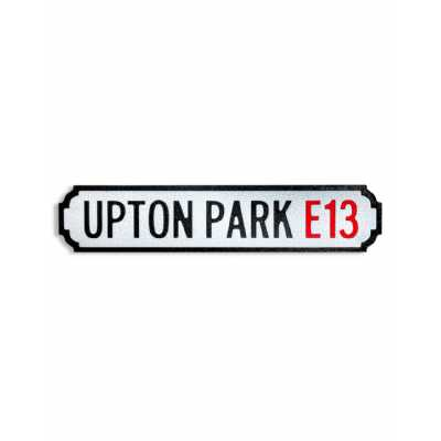 Antique and Quirky Rectangular Natural Wood 'UPTON PARK E13' Road Sign 13.5x60x2cm