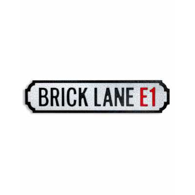 Antique and Quirky Rectangular Natural Wood 'BRICK LANE E1' Road Sign 13.5x55x2cm