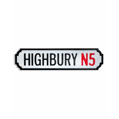 Antique and Quirky Rectangular Natural Wood 'HIGHBURY N5' Road Sign 13.5x51x2cm