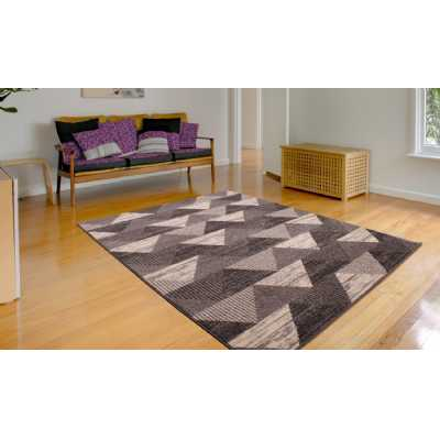 SPIRIT TRIANGLE GREY WHITE PATTERN RUG 80 x 150cm
