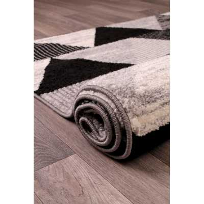 Heat Set Spirit Triangle Grey White Black Pattern Rug 66 x 230cm