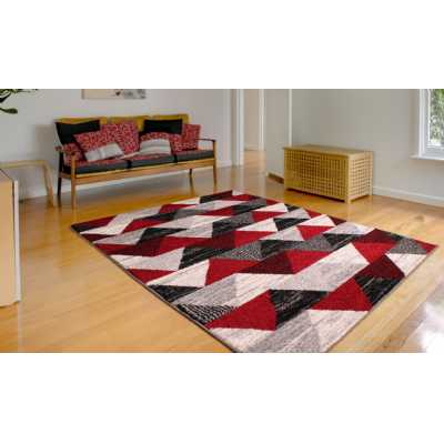 Contemporary Geometrical Heat Set Spirit Triangle Red Rug 160 x 230