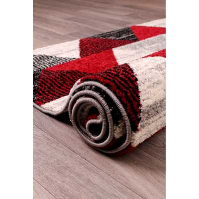 Contemporary Geometrical Heat Set Spirit Triangle Red Rug 66 x 230cm
