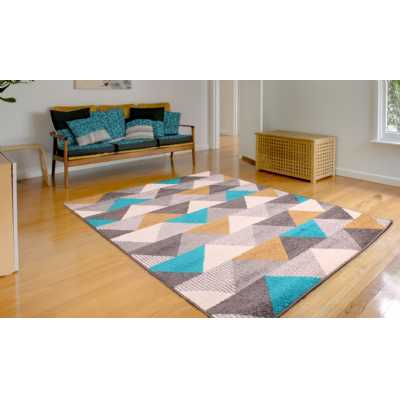 SPIRIT TRIANGLE YELLOW OCHRE GOLD AND TEAL RUG 80 x 150cm