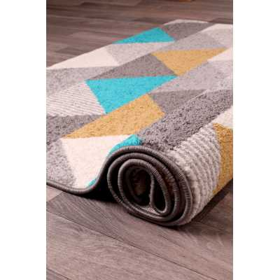 Contemporary Geometrical Spirit Triangle Ochre Teal Rug 66 x 230