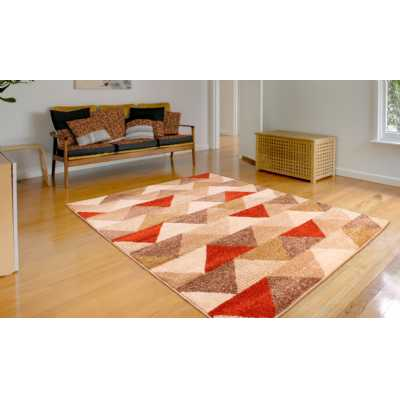 SPIRIT TRIANGLE PATTERN RED GOLD OCHRE AND TERRACOTTA RUG 80 x 150cm