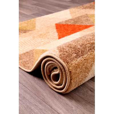 Contemporary Geometrical Spirit Triangle Terracotta Rug 66 x 230
