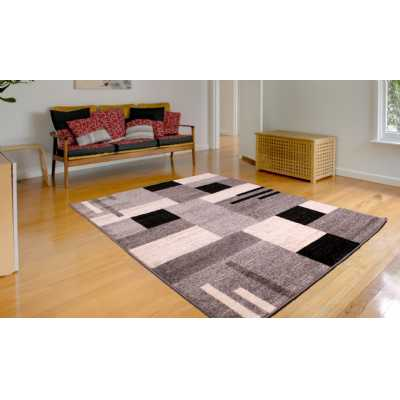 SPIRIT BLOCKS GREY WHITE BLACK PATTERN RUG 80 x 150cm