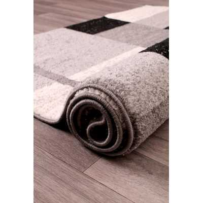 Contemporary Geometrical Heat Set Spirit Blocks Grey Rug 66 x 230cm