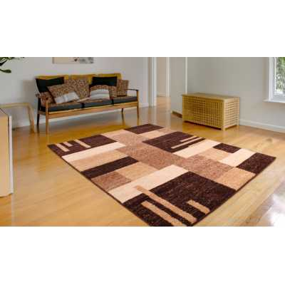 Contemporary Geometrical Heat Set Spirit Blocks Brown Rug 160 x 230