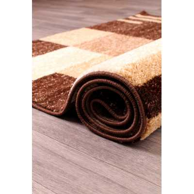 Contemporary Geometrical Heat Set Spirit Blocks Brown Rug 66 x 230