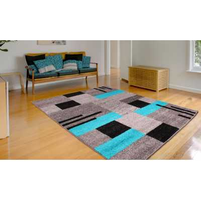 SPIRIT BLOCKS TEAL BLUE GREY BLACK PATTERN RUG 80 x 150cm
