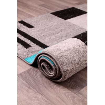Contemporary Geometrical Heat Set Spirit Blocks Blue Teal Rug 66 x 230cm
