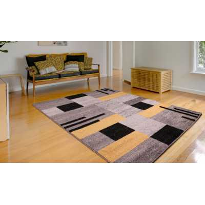 Contemporary Geometrical Spirit Blocks Grey Ochre Rug 120 x 170