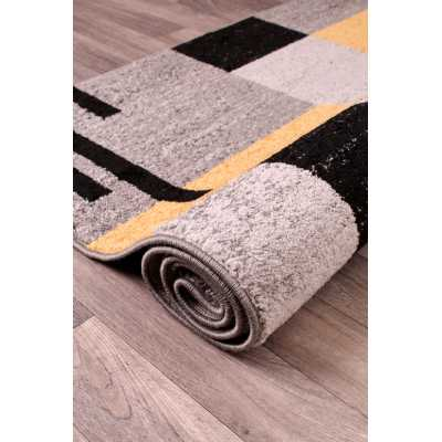Contemporary Geometrical Spirit Blocks Grey Yellow Ochre Rug 66 x 230cm