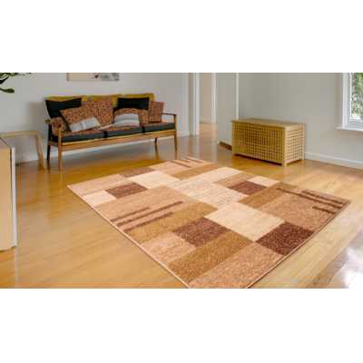 Contemporary Geometrical Spirit Blocks Beige Ochre Rug 120 x 170