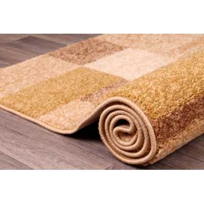 Contemporary Geometrical Spirit Blocks Beige Yellow Gold Rug 66 x 230cm