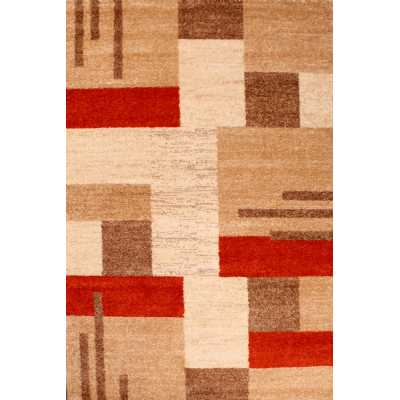 Contemporary Geometrical Spirit Blocks Terracotta Rug 160 x 230