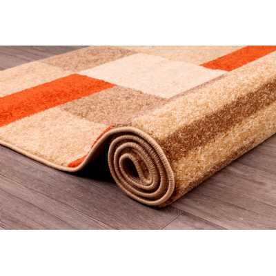 Contemporary Geometrical Spirit Blocks Terracotta Rug 66 x 230cm