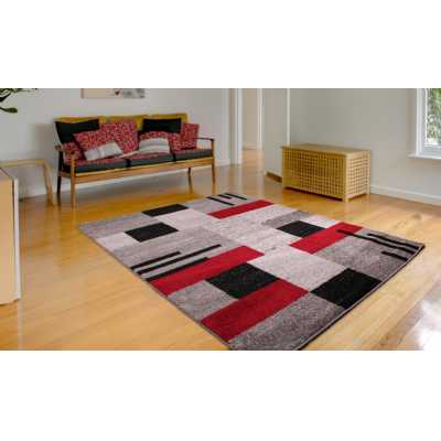 Contemporary Geometrical Heat Set Spirit Blocks Red Rug 120 x 170