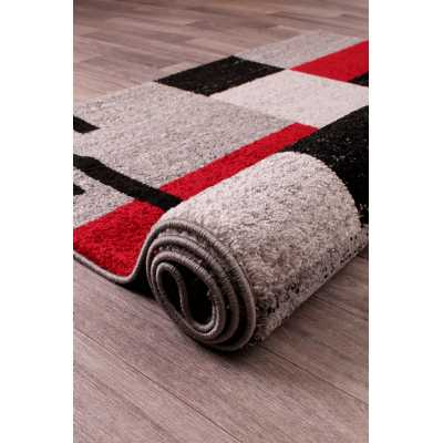 Contemporary Geometrical Heat Set Spirit Blocks Red Grey Rug 66 x 230cm