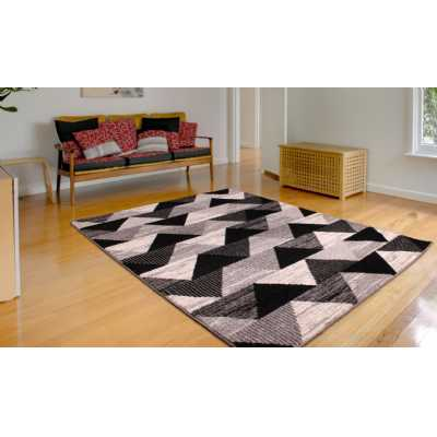 Contemporary Geometrical Heat Set Spirit Triangle Black Rug 60 x 110cm