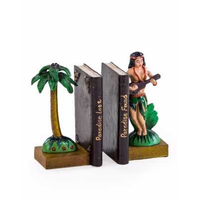 Quirky Cast Iron Multicolour Palm Tree Paradise Hula Girl Pair Of Bookends 23x12x12cm