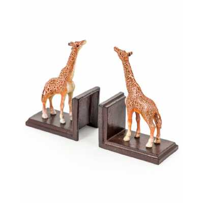 Quirky Cast Iron Distressed Brown Antiqued Pair Of Giraffe Bookends for Safari Lovers 19x13x9cm