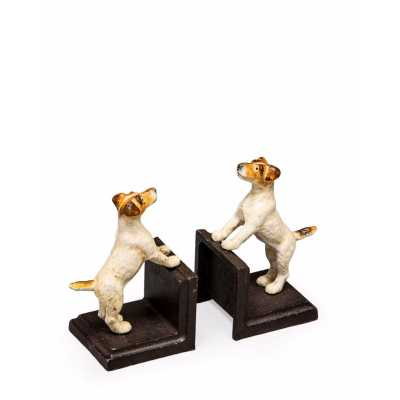 Cast Iron Antiqued Pair Of Terrier Puppy Structure Bookends 16x9x9cm
