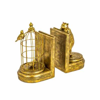 Antique Style Gold Finish Curious Cat And Birds Pair Of Ornamental Bookends 25 x 14cm