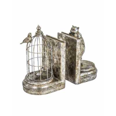 Antique Silver Metal Cage With Bird and Curious Cat Pair Of Bookends 25x14x13cm Each