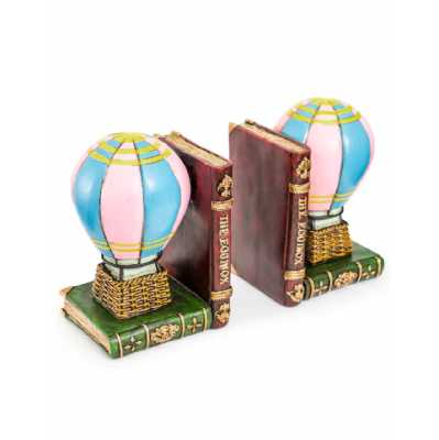 Antique Style Resin Moulded Hot Air Balloon Themed Pair Of Bookends 18 x 25cm