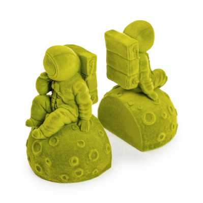 Contemporary Style Olive Green Flock Pair Of Astronaut Bookends 16 x 17.5cm