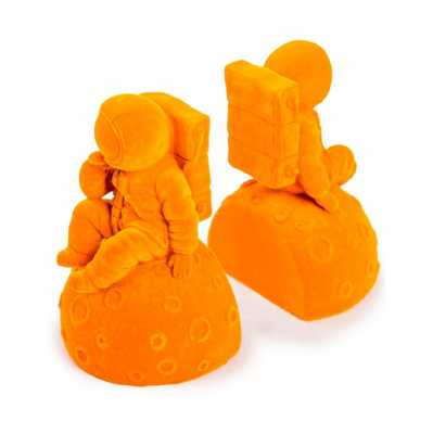 Contemporary Style Bright Orange Flock Pair Of Astronaut Bookends 16 x 17.5cm