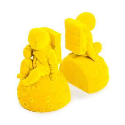 Contemporary Style Bright Yellow Flock Pair Of Astronaut Bookends 16 x 17.5cm