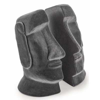 Vintage Style Grey Flock Velvet Effect Easter Island Head Pair Of Bookends of 16.5x12x12cm