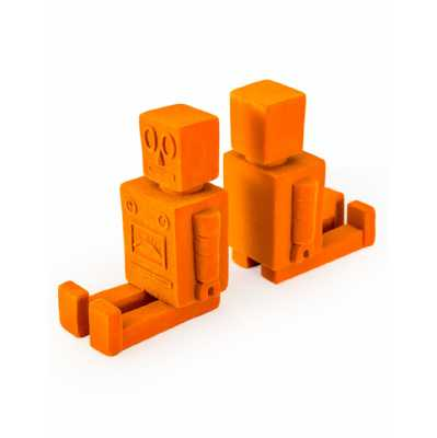 Modern Bright Orange Flock Pair Of Sitting Robot Bookends With Realistic Detailed Carvings 13.8x21x8.5cm