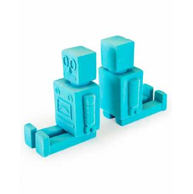 Contemporary Pair of Light Blue Flock Robot Funky Bookends 13.8x21x8.5cm Each