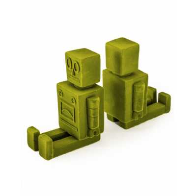 Contemporary Pair of Olive Green Flock Robot Funky Bookends 13.8x21x8.5cm Each