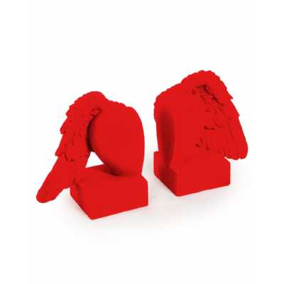 Contemporary Style Bright Red Flock Pair Of Winged Heart Bookends 14.5 x 25.5cm