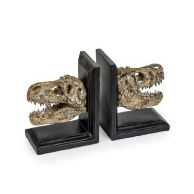 Pair Of Contemporary Style Dinosaur Skull Bookends On Black Wooden Bases 17.8 x 13.7cm
