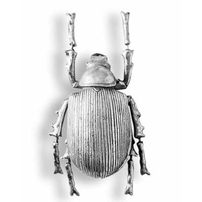 Antique Large Silver Detailed Strive Back Beetle Wall Decor 22x11x7.5cm