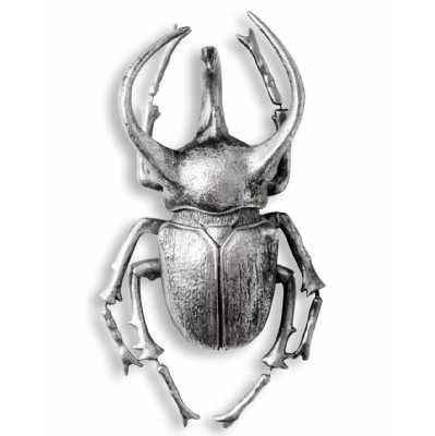 Extra Large Distressed Silver Beetle Quirky Sculpture Wall Decor Modern Hand Painted 36x20.5x12cm