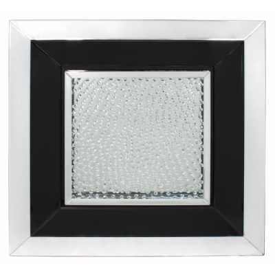 Glass Gems Black Large Square Mirror Wall Art